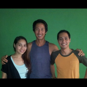 My brother and I with our teacher, David Kim!  :)   (We took the Teacher Training one year apart.)